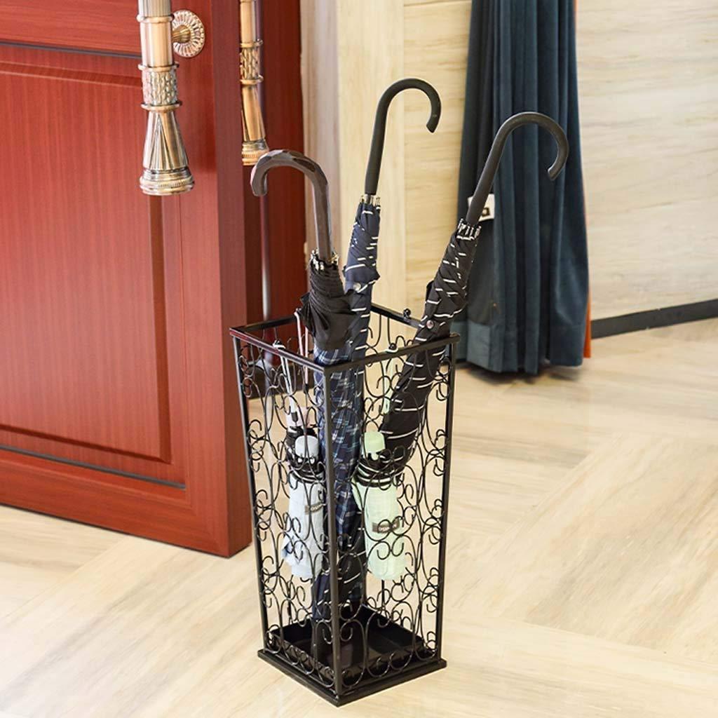 HQASH Porte-parapluie Porte-canne classique en m/étal Porte-parapluie avec 4 crochets sup/érieurs et un bac d/égouttement pour couloir de bureau /à domicile Color : Black