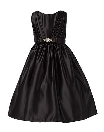 c6078f426db Sweet Kids Little Girls  Satin   Rhinestone Flower Girl Dress 2 Black ...