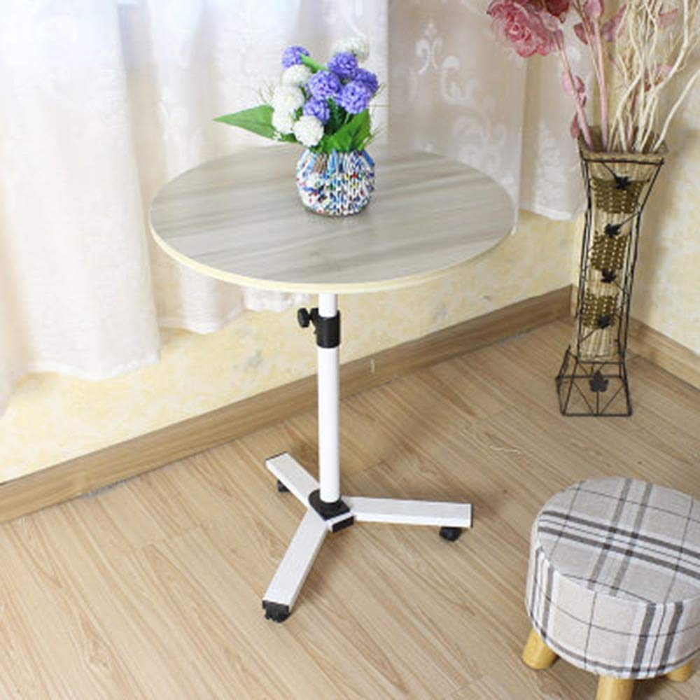 YUEQISONG Laptop, Overbed Table Swivel Wheel Rolling Tray Table Adjustable Bed Table for Family Home or Hospital Reading Breakfast Cart, b