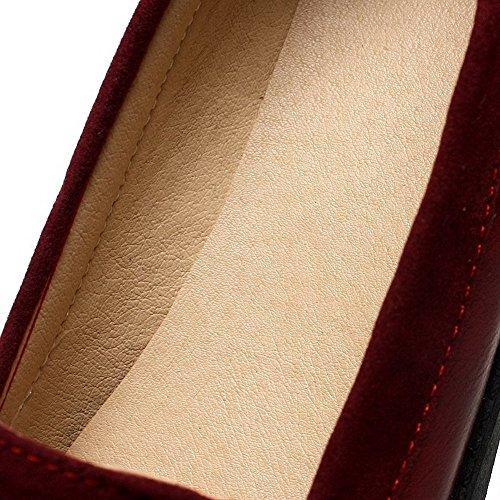 VogueZone009 Femme à Talon Bas Houppe Tire PU Cuir Rond Chaussures Légeres Rouge Ufbz5KBS1