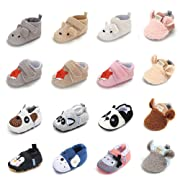 Sawimlgy Infant Baby Anti-Slip Soft Sole Cartoon First Walkers Shoes Slippers (S:0-6 Months, A-Khaki)