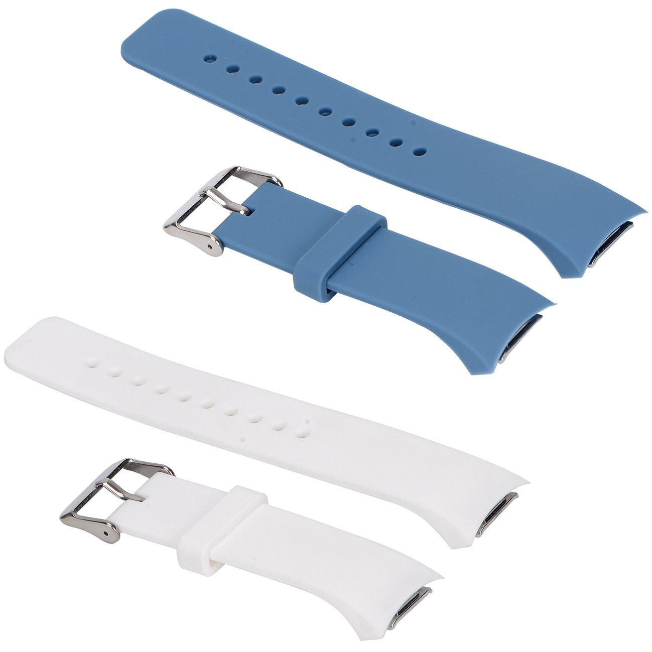2pcs Small Bands for Gear Fit2 Pro Watch, Replacement Soft Silicone Bands Straps for Samsung Gear Fit2 Pro Smart Fitness Band and Samsung Gear Fit2 Smartwatch : White+Slate