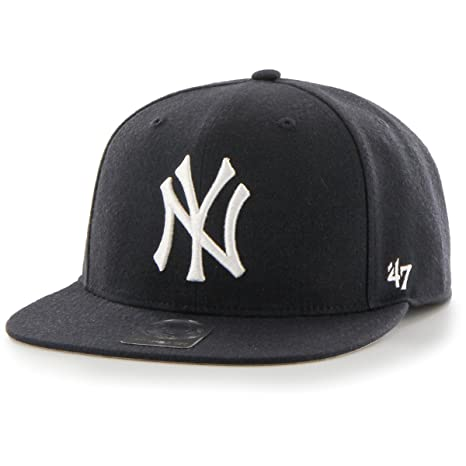 b9702f5b Image Unavailable. Image not available for. Color: New York Yankees Navy No  Shot 47 Captain Flat Bill Snapback Hat
