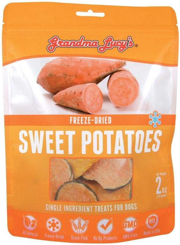 Grandma Lucy's Singles Pet Treat, Freeze-Dried Single Ingredient Treats for Dogs - Sweet Potatoes, 2 oz