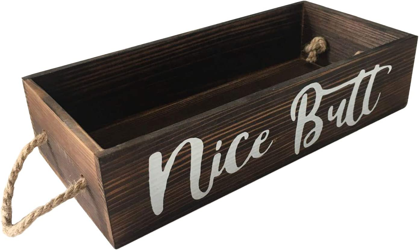 No/Brand Nice Butt Bathroom Decorate Box,Rustic Home Storage Toilet Paper Holder,Durable Wooden Bathroom Box,Funny Home Decor Box for Office,Bathroom, Kitchen, Table,Desk,and Counter