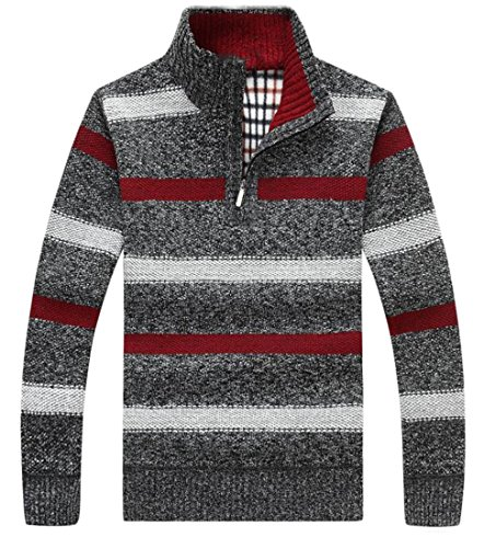 Nice ainr Men Warm Striped Print Half Zip Long Sleeve Knitted Pullover Sweater free shipping
