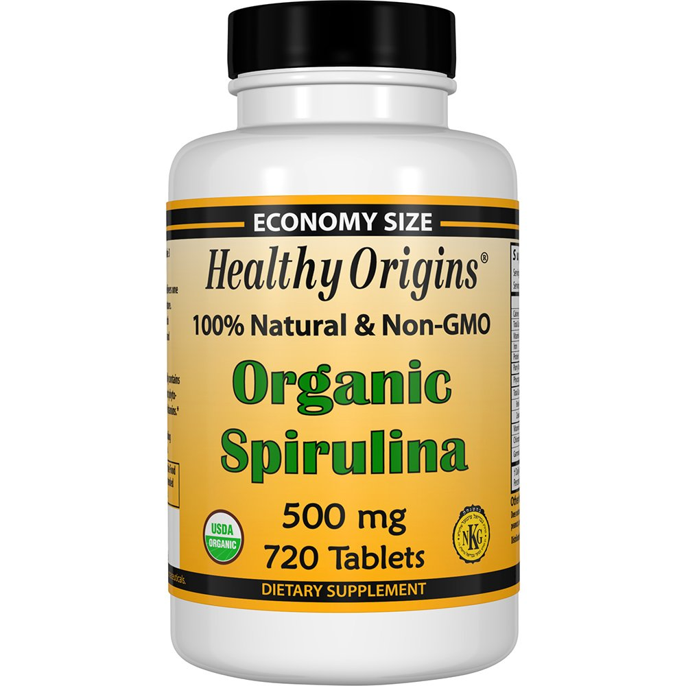 Healthy Origins Organic and Kosher Spirulina, 500 mg, 720 Tablets