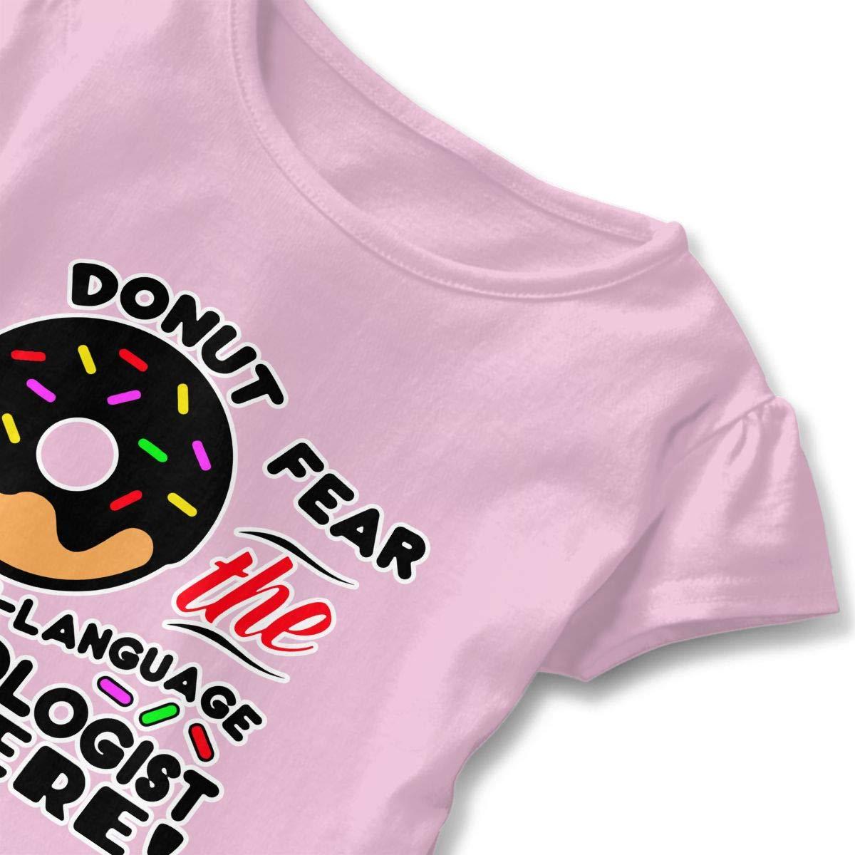 Speech-Language Pathologist Donut Fear Toddler Baby Girl Ruffle Short Sleeve T-Shirt Cute Cotton T Shirts