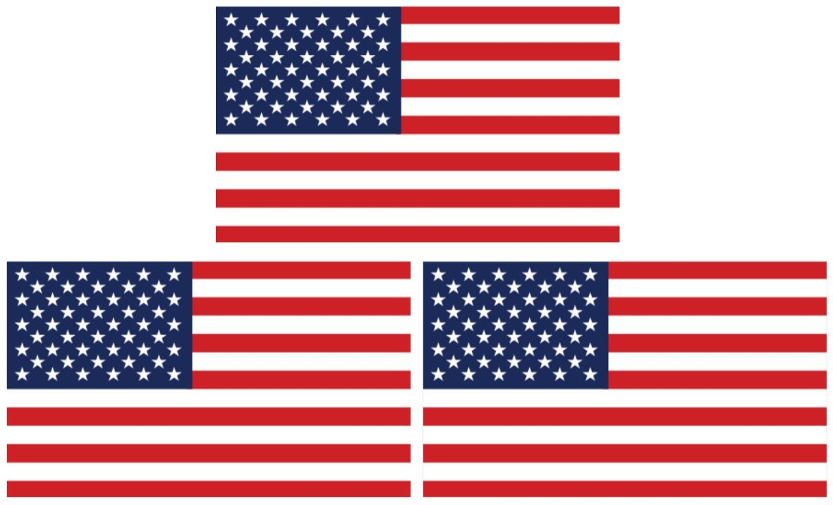 3 pack large 4 x 6 rectangular united states american flag decal stickers premium quality heavy duty 3m usa vinyl die cut screen printed