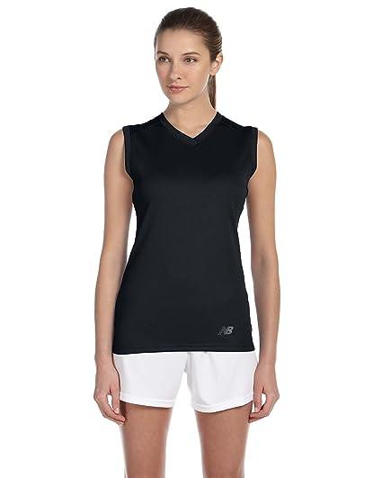 New Balance Ladies Ndurance Athletic V-Neck Workout T-Shirt, Small, BLACK