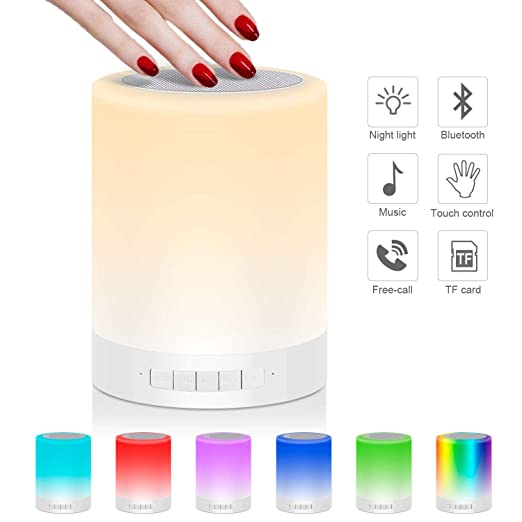 Nachttischlampe Stimmungslicht mit Bluetooth Lautsprecher, USB Wiederaufladbar Smart Touch Control Nachtlicht Musik Spielen R