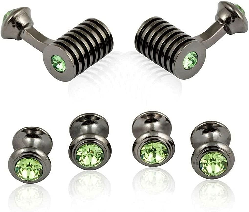Cuff-Daddy Gunmetal Green Peridot Barrel Crystal Cufflinks and Studs Formal Set with Presentation Box