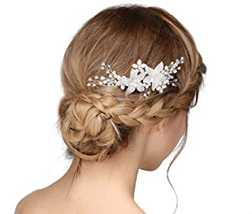 Bride Hair Clips Alloy Beads Rhinestone Hair Card Women/'s Handmade Leaf Hairpin Bridal Beautiful Headpiece Bridesmaid Tiara Wedding Gifts