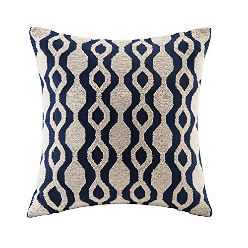 blue page Cotton Towel Embroidery Cushion Cover - Decorative Throw Pillow Cover, Striped Invisible Zipper Pillow Case for Living Room, 18x18 ()