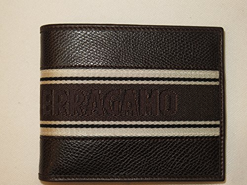 Salvatore Ferragamo Men's Brown Pebbled Leather Bifold Wallet