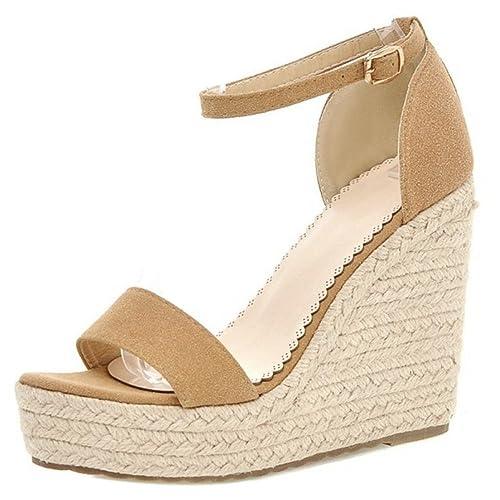 7f273cad COOLCEPT Zapatos Mujer Verano Cool Comodo Al Tobillo Tacon de Cuna  Sandalias: Amazon.es: Zapatos y complementos
