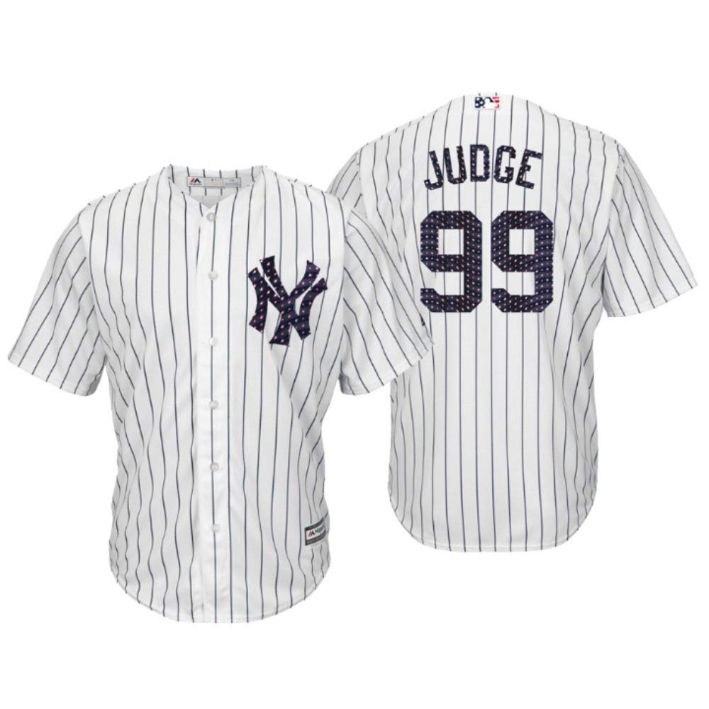buy popular 29168 76f59 Majestic Athletic Men's New York Yankees Aaron Judge 2018 Stars & Stripes  Player Jersey – White XL