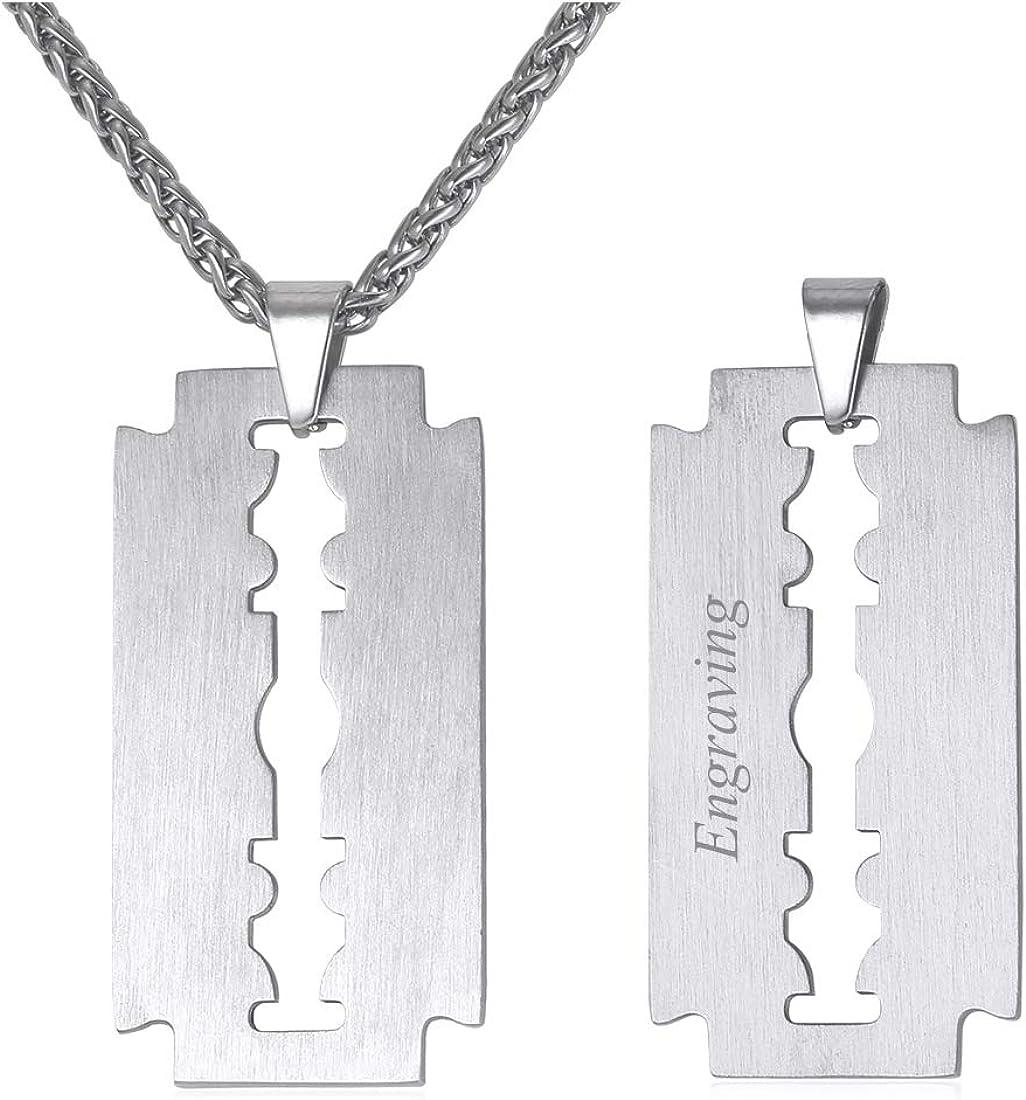 U7 Collar de Hombre Personalizable Nombre Grabado Hoja de Cuchilla de Afeitar Collar para Hombre Acero Inoxidable/Bañado en Oro/en Metal Negro 55cm Ajustable