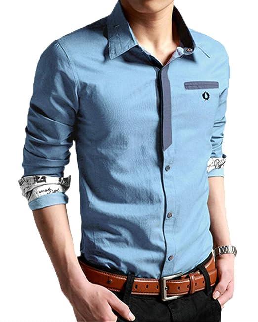 Camisa de Manga Larga para Hombre Ocio Color Sólido Imitación Vaquero Moda Slim Fit Elasticidad Formal
