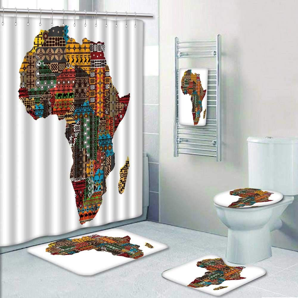 Philip-home 5 Piece Banded Shower Curtain Set Africa map with Countries Made of Ethnic Textures Shower Curtain/Toilet seat/Bath Towel