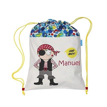 Bolsa mochila pirata confeccionada en loneta y personalizada con el nombre bordado (30 x 37