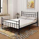 Metal Bed Platform Frame with Steel Headboard and Footboard Mattress Foundation Double beds Box Spring No Assembly Double Replacement for Kids Adult Victorian Style Black Queen Size