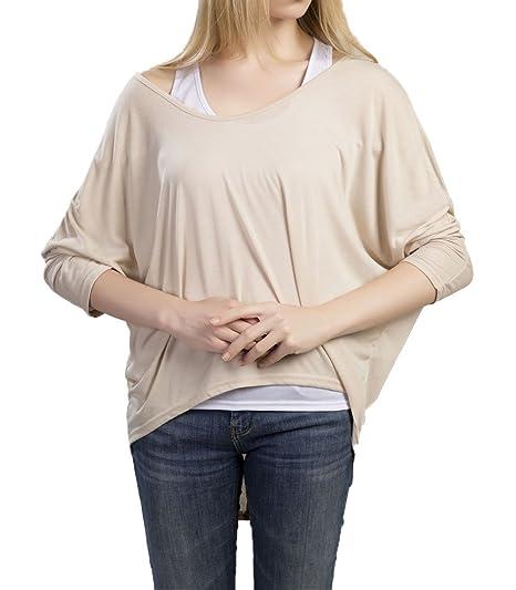 Legendaryman Mujeres Camiseta con Mangas Largas de Murciélago Suelto Jumper Pullover Sudadera Sweater T Shirt Blusa