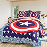 Sport do America Captain 100% Polyester Bedding Set,Famous Cartoon Character Kids/Students Duvet Cover Set, Upscale Soft Bedding Set(4-Piece,Queen)