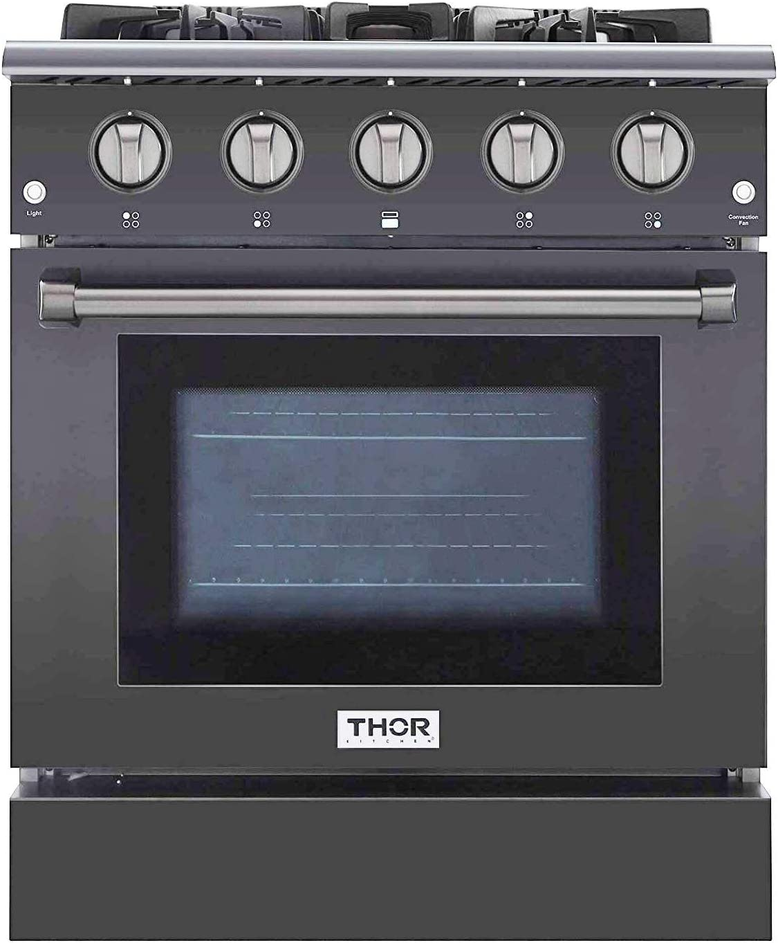 """Thor Kitchen HRG3080GMT 30"""" Freestanding Professional Style Gas Range with 4.2 cuft, 4 Burners, Convection Fan, Cast Iron Grates, and Blue Porcelain Oven Interior in Stainless Steel"""