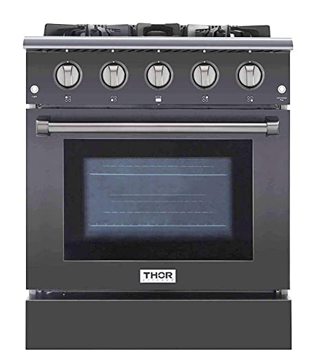 Thor Kitchen Hrg3080gmt 30 Freestanding Professional Style Gas Range With 4 2 Cuft 4 Burners Convection Fan Cast Iron Grates And Blue Porcelain