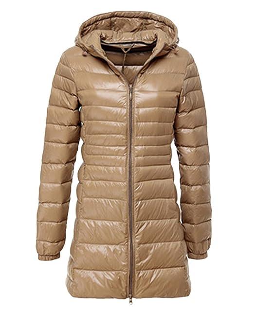 LvRao Donna Giacche di Piuma con Cappuccio Giacche Piumino Lungo Ultra Leggero Packable Cappotto Invernali