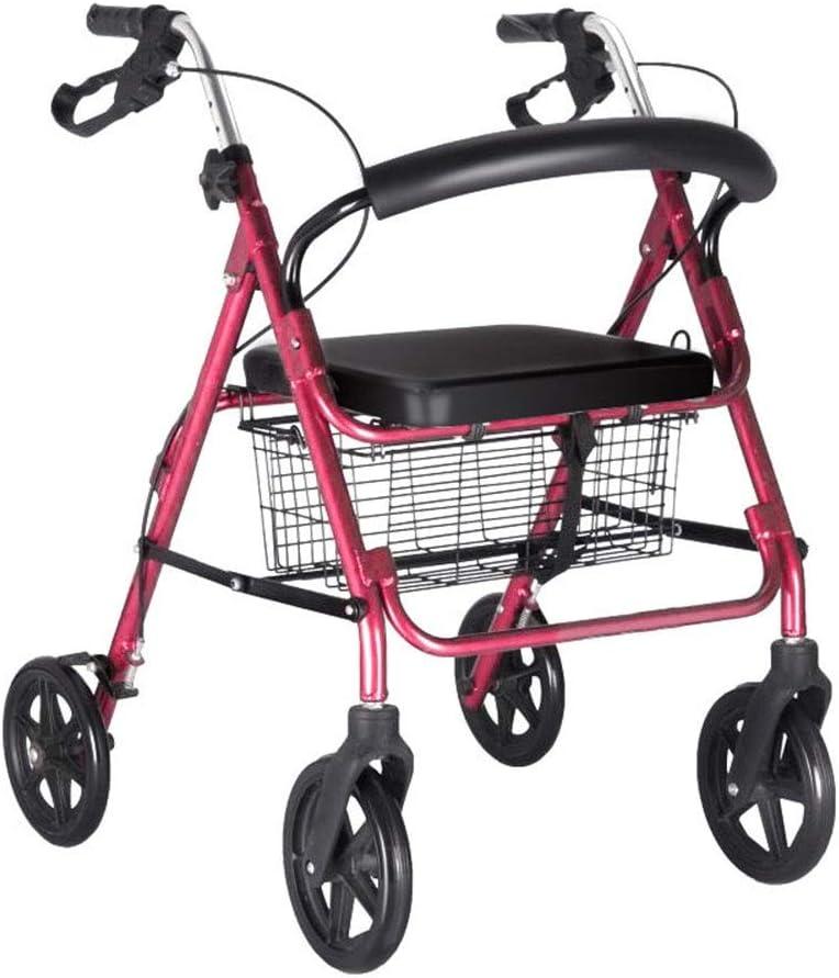 Andadores para Ancianos Carro Ruedas con Asiento, de múltiples Funciones Walker, Plegable Ligero y portátil (Color : Pink, Size : #1)