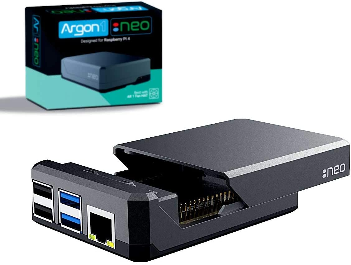 Argon NEO Raspberry Pi 4 Model B Heatsink Case | Supports Cooling Fan, Camera, and LCD Display | GPIO and PoE Pins are Accessible