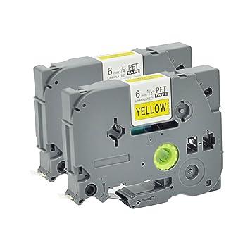 P Touch Label 2Pack TZ611 TZo611 TZe Labeling Tape Cartridge Label Orison Black on Yellow Compatible