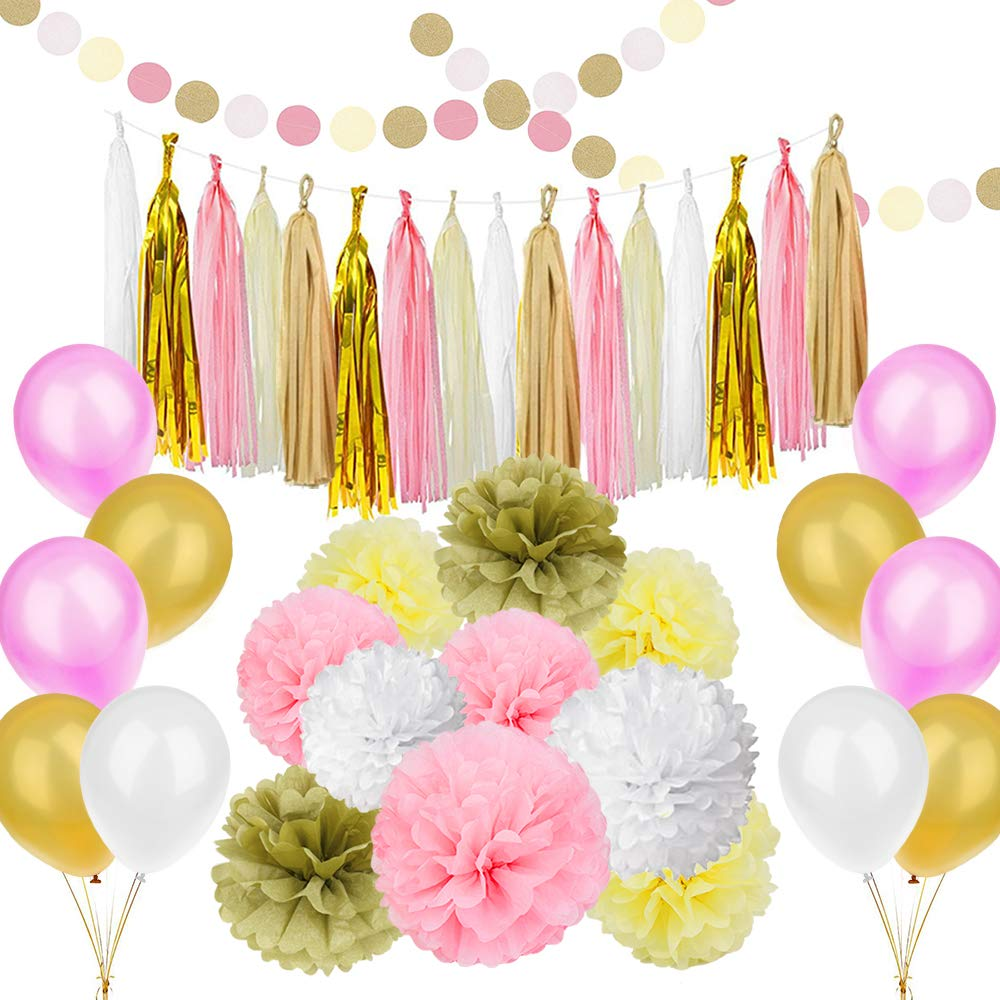 Amazon 89 Pcs Gold Pink Party Decorations Kit Simpzia Party