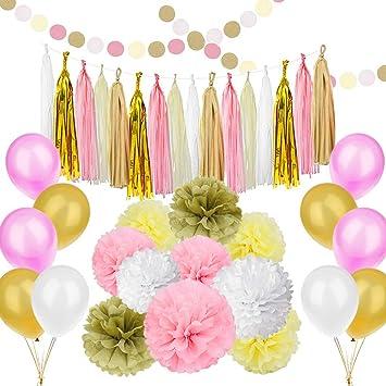 amazon com 89 pcs gold pink party decorations kit simpzia party