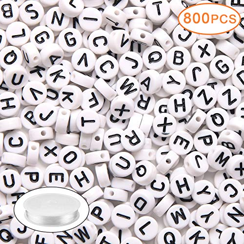800PCS Acrylic White Round Letter Alphabet Beads with 1 Roll 25M Elastic Crystal String Cord for Jewelry Making DIY Necklace Bracelet (4x7mm)