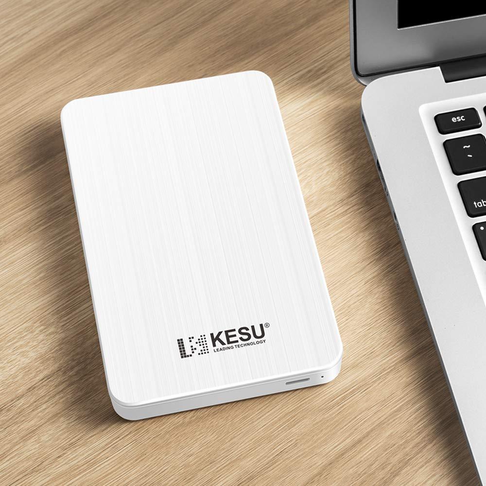 KESU 500GB Portable External Hard Drive Type C USB3.0 HDD Storage Compatible for PC Mac Chromebook White MacBook Desktop Laptop