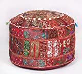 Bohemian Traditional Patchwork Indian Pouf Large Round Ottoman Seat Pouffe
