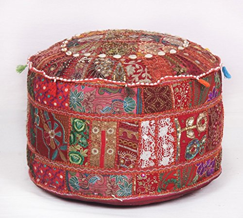 Bohemian Traditional Patchwork Indian Pouf Large Round Ottoman Seat Pouffe