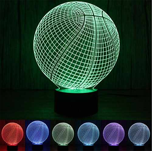 HAPPYMOOD 3D Basketball Lamp Illusion Light LED Christmas Valentine Birthday Gift Indoor Bedroom 7 Colors Change Unique Decoration