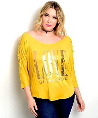 16cf6f5e11 Araza Womens Knit Top Plus Size Mustard Crocheted Lace All You Need is Love  (3X