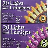 Purple and Orange Halloween Mini Lights Bundle - 2 Item: Purple Mini Lights and Orange Mini Lights by Greenbrier