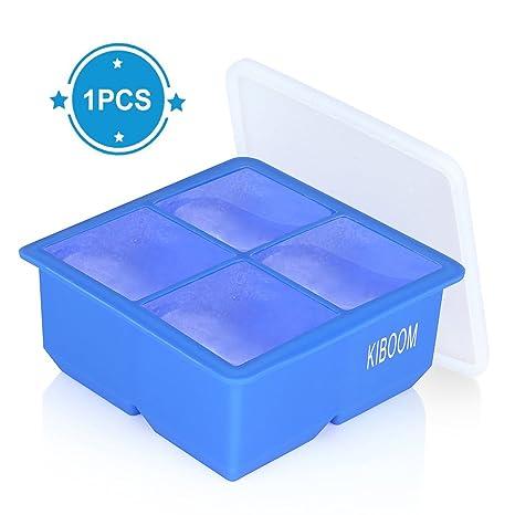 Silicona grande Ice Cube bandejas, kiboom Cubito de hielo cubo de hielo y tapa para