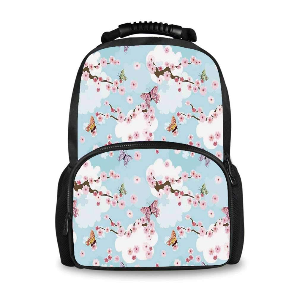 Japanese Adorable School Bag,Spring Flower with Birds and Butterflies Freshening Sublime Sky Scenery Charm Print for Boys,12''L x 7''W x 17''H