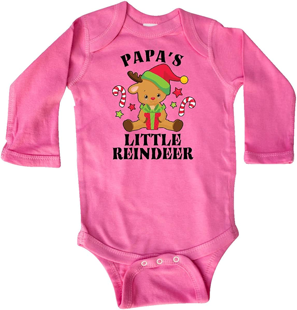 inktastic Christmas Papas Little Reindeer with Candy Canes Long Sleeve Creeper