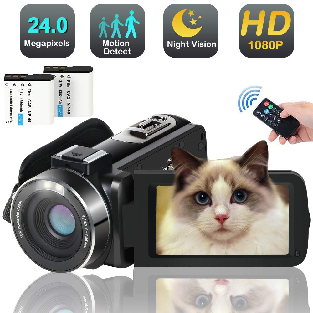 Video Camera Camcorder,Full HD 1080p 30FPS 24MP Digital YouTube Vlog Camera Video with IR Night Vision Pause Time Lapse Function 2 Batteries Free HDMI Cable Support External Microphone