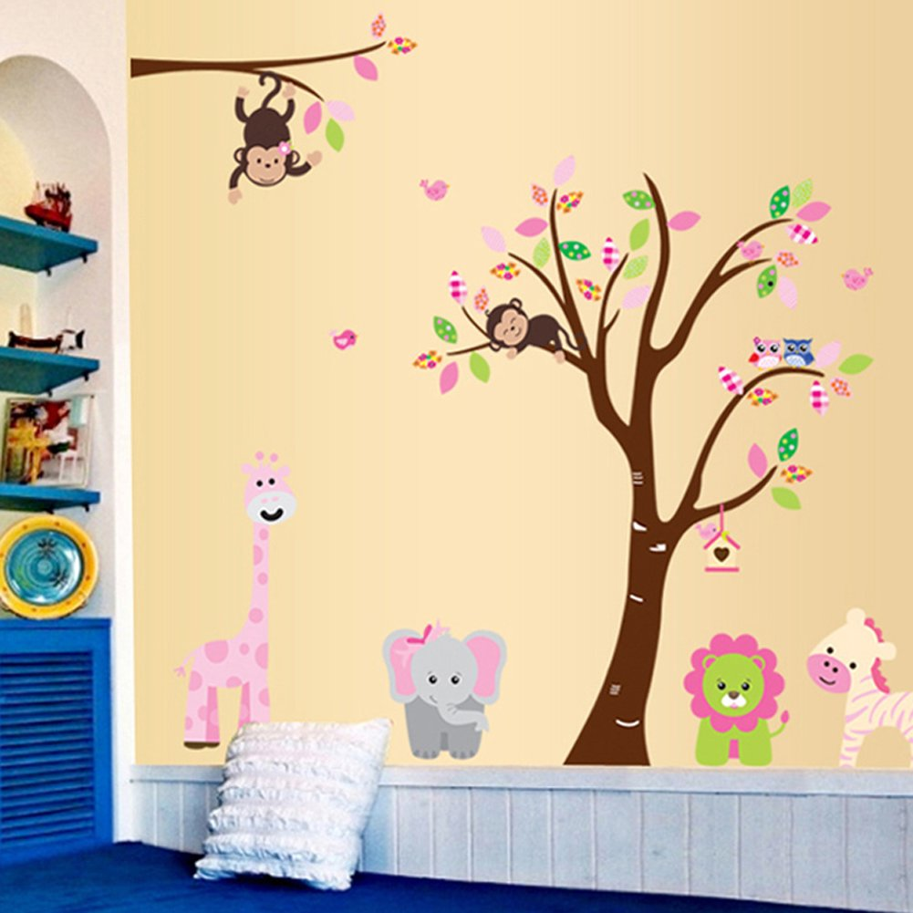 Amazon.com: Cartoon Cute Monkeys Big Trees Removable Wall Stickers Home  Decor Decals For Childrenu0027s Room Nursery, Set Of 2 Sheets (animal Tree):  Baby Part 57