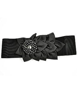 SODIAL(R) Cintura elastica larga larghezza 2.4'' nera da donna