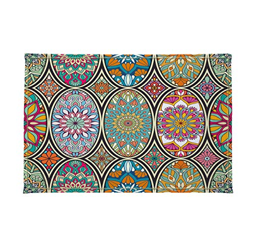 Gothic Church Cathedral Mandala Colorful Stained Glass Decor Stylish Bath Rugs 3D Digital 16x24 Inch Customized Personality Round Mosque Window Flower Outdoor Indoor Front Door Mat Non-Slip Bath -